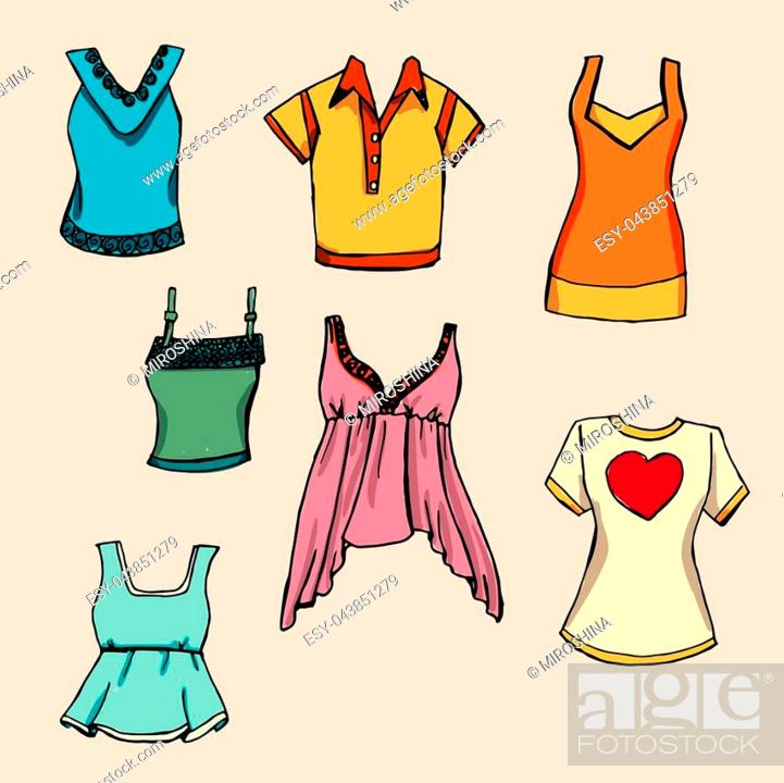 Stock Vector: Fashion set. Various T-shirts. illustration in hand drawing style.