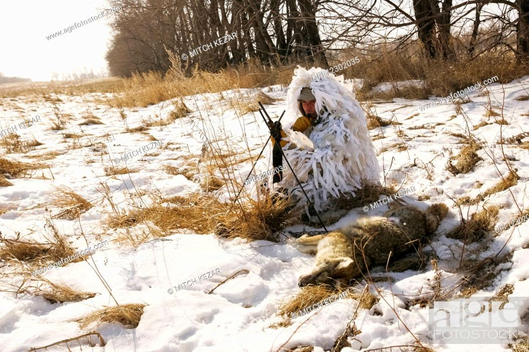 Stock Photo: Varmint Hunter In Ghillie Snow Suit.
