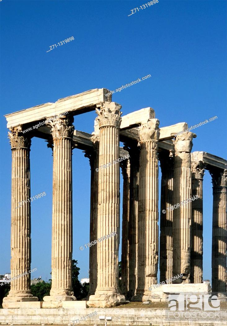 Stock Photo: Greece, Athens, Temple of Olympian Zeus.