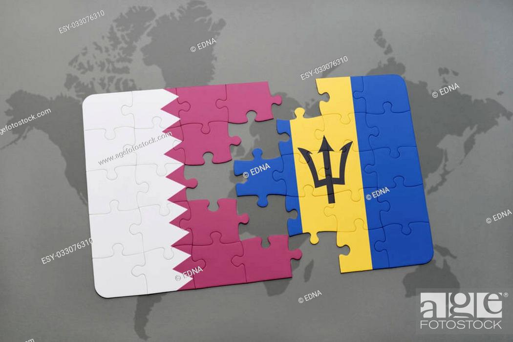 Stock Photo: puzzle with the national flag of qatar and barbados on a world map background. 3D illustration.