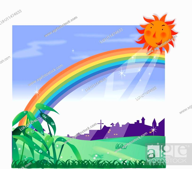 Stock Photo: morning, grassfield, sunlight, sun, rainbow, sunny, weather.