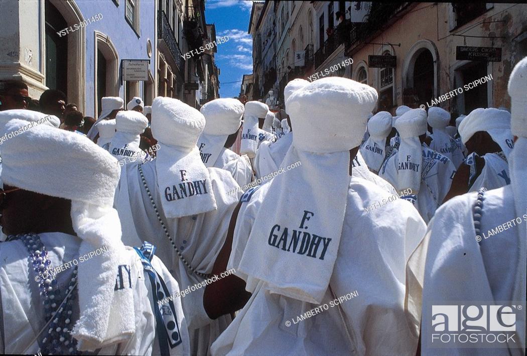 Stock Photo: Carnival, Gandhi Children, Salvador, Bahia, Brazil.