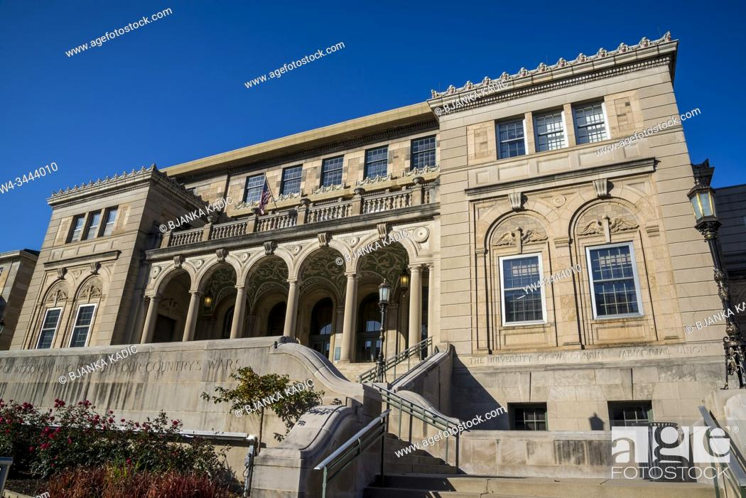 Stock Photo: Memorial Union building on the campus of the University of Wisconsin, Madison, Wisconsin, USA.