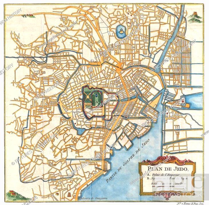 Japan Plan De Jedo Map Of Edo Old Tokyo Bellin And Schley
