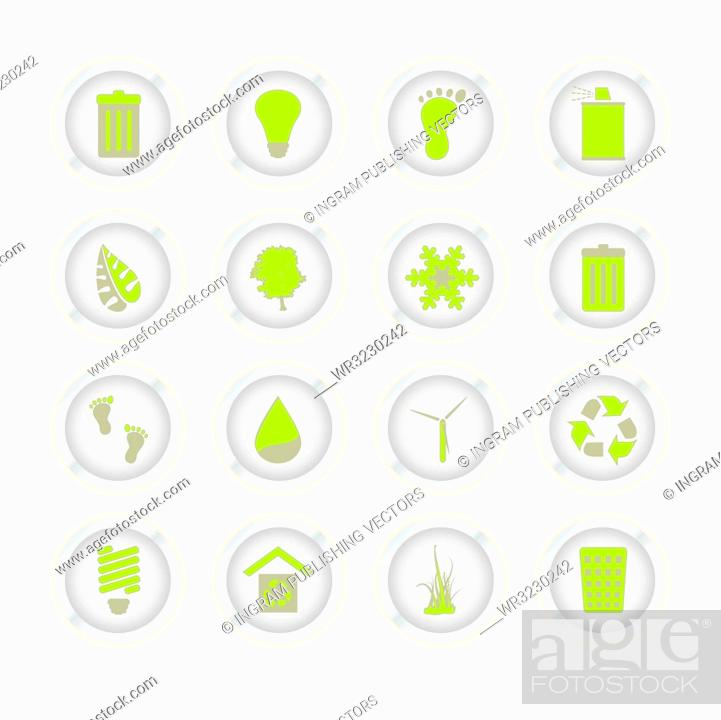 Stock Vector: Collection of sixteen eco style buttons with a slight glow.