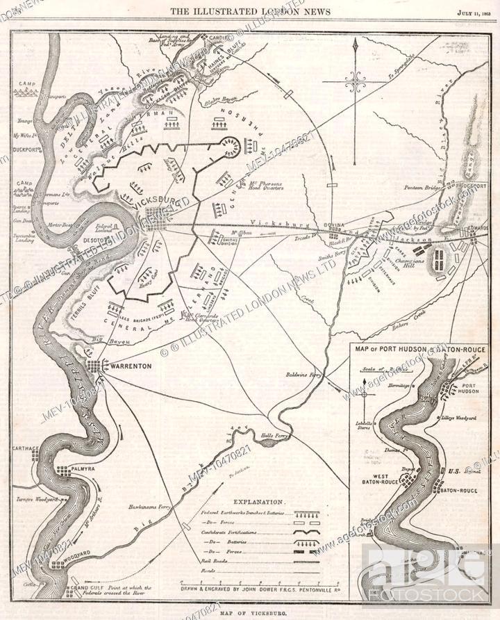 Map Of Vicksburg Mississippi During The Us Civil War When Ulysses - Vicksburg-on-us-map