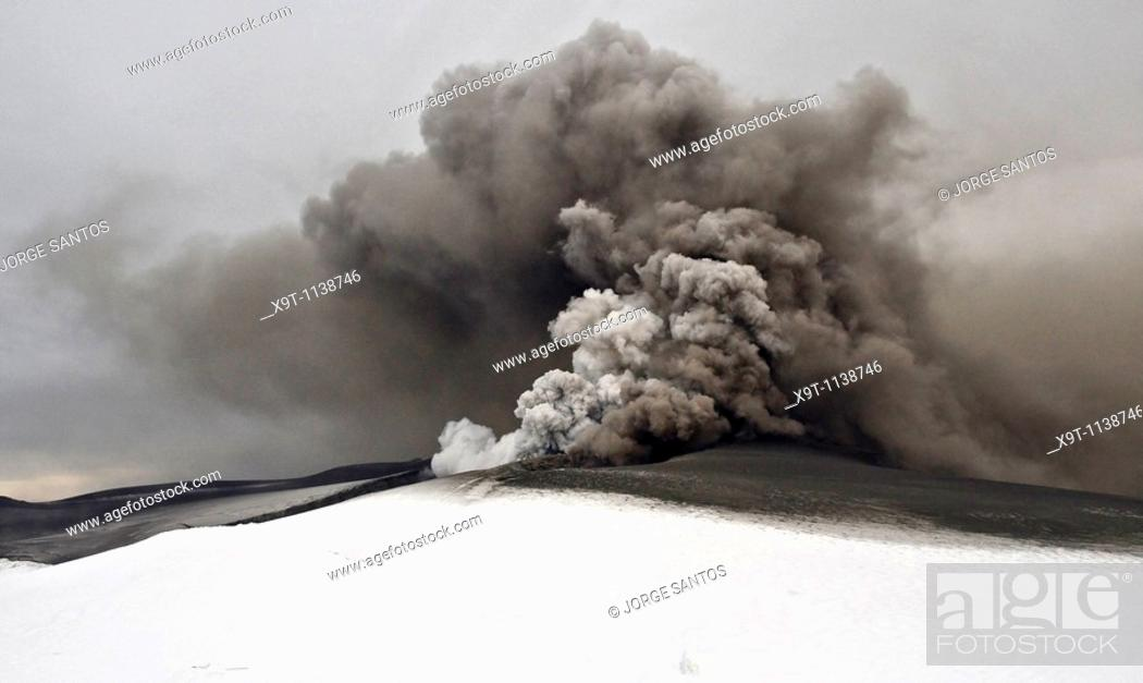 Stock Photo: Here I Stand  A dramatic image of the ash plume of Eyjafjallajökull.