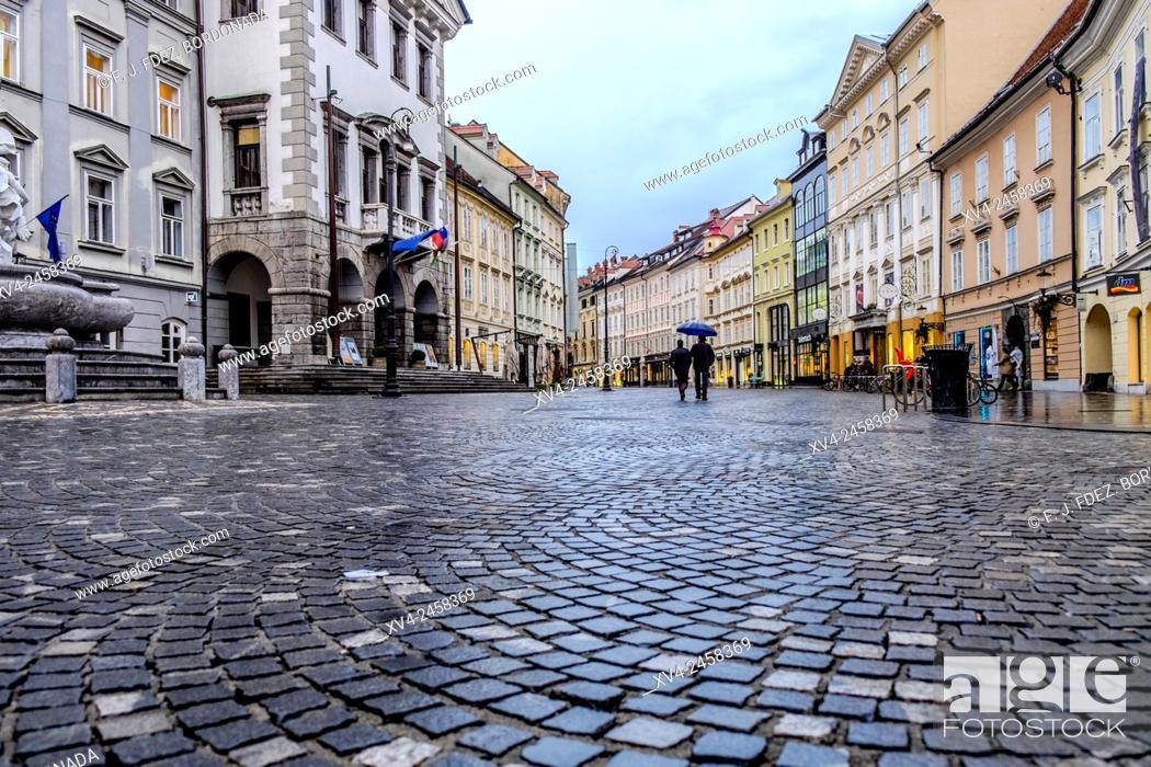 Stock Photo: Mestni Trg Square surface detail, Ljubljana, Slovenia, Europe.