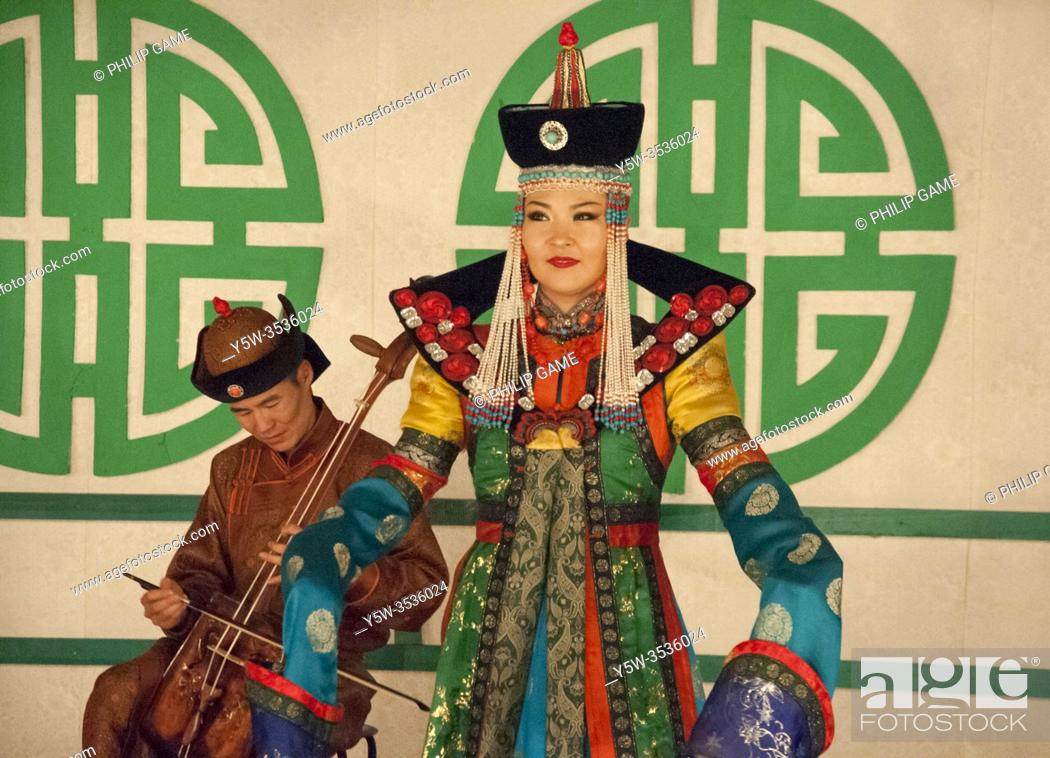 Stock Photo: Performance by Tumen Ekh, the National Song and Dance Ensemble of Mongolia in Ulaanbaatar.
