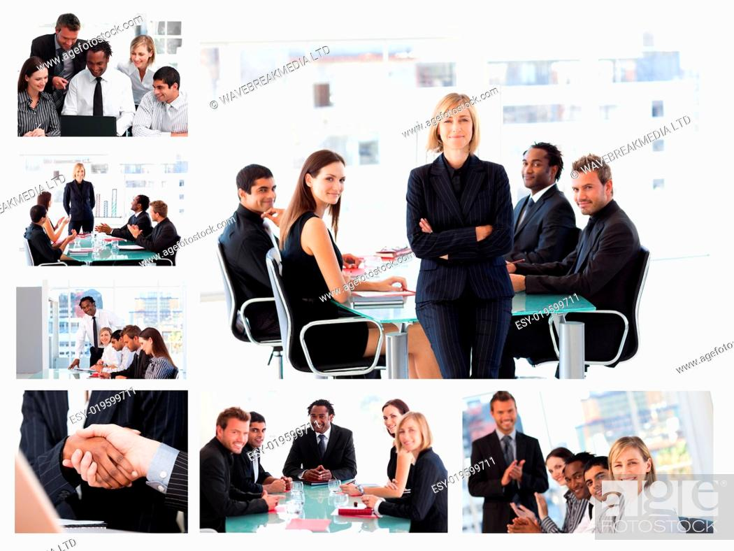 Stock Photo: Collage of businesspeople in different situations posing.