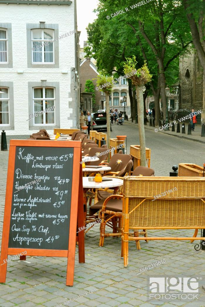 "Stock Photo: Maastricht is wellknown for its """"café/terrace culture"""" Restaurant d'Artagnon in the neighbourhood of the Onze Lieve Vrouw Plein in the old city."