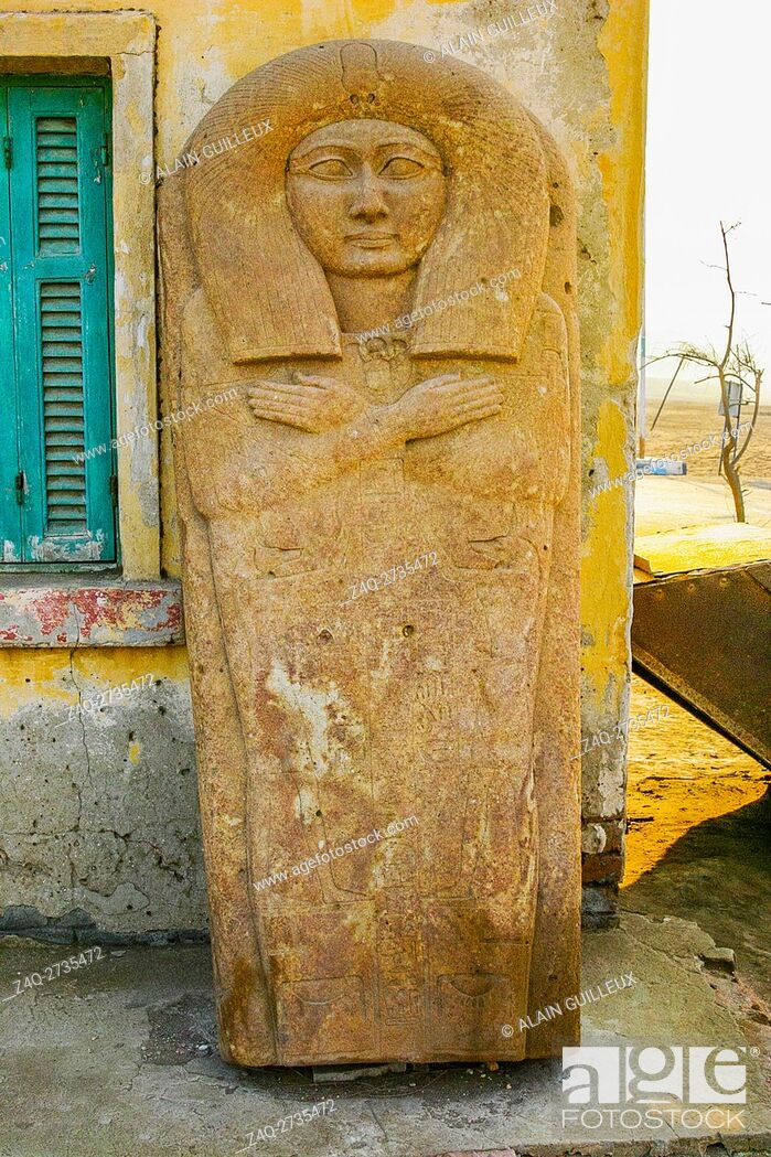 Stock Photo: Egypt, Nile Delta, Royal Necropolis of Tanis, the sarcophagus of the prince Hornakht, initially in the tomb of Osorkon, now outside the excavation house.