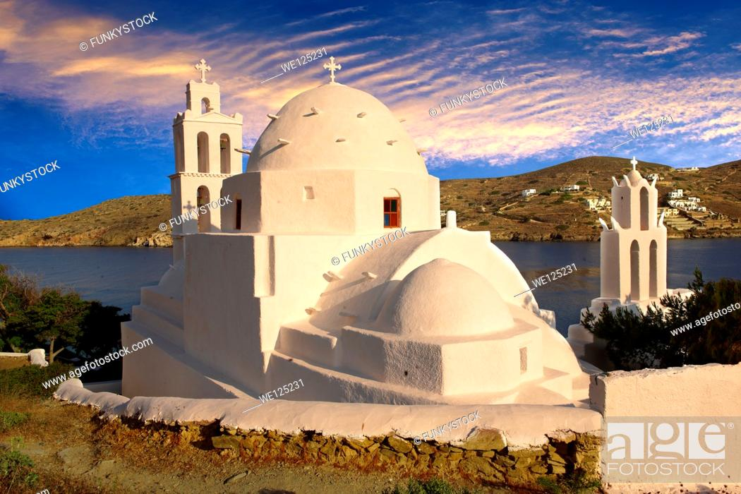 Stock Photo: The Byzantine church of Agia Irene on the harbour of Ormos, Ios, Cyclades Islands, Greece.