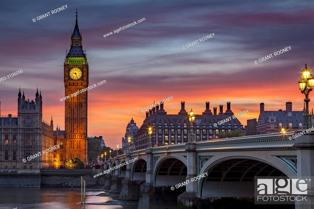 Stock Photo: The Elizabeth Tower (Big Ben) and Westminster Bridge, London, England.