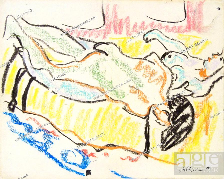 Stock Photo: Love couple in studio (Two Nudes). Kirchner, Ernst Ludwig (1880-1938). Pastel on paper. Expressionism. 1908-1909. Private Collection. Graphic arts.