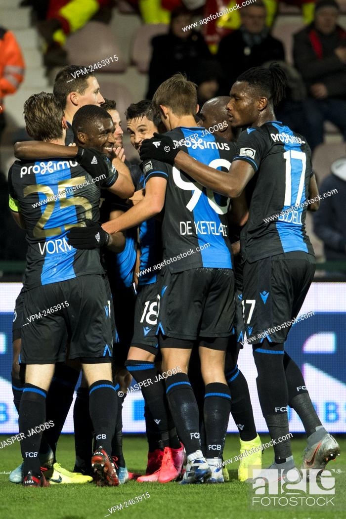 Club s Players Celebrate After Scoring During A Soccer Match Between KV Kortrijk And Club Brugge KV Stock Photo Picture And Rights Managed Image Pic VPM Agefotostock