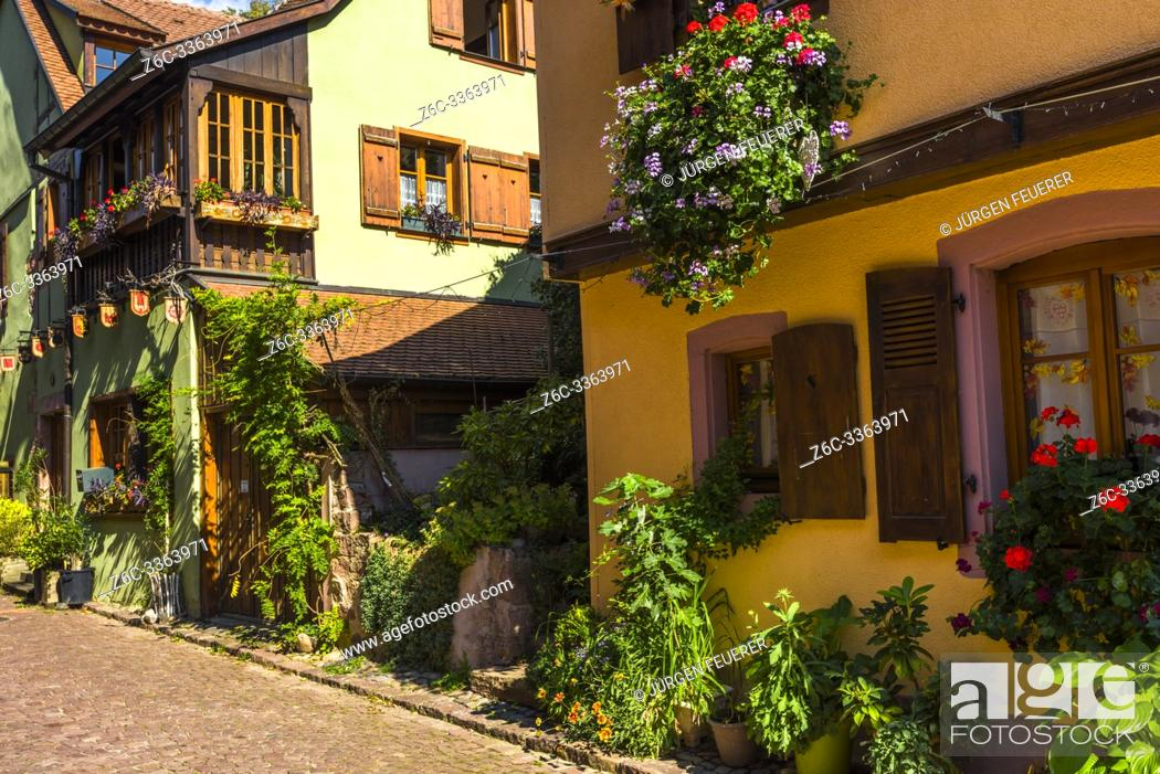 Stock Photo: scenic corner in the old town of Kaysersberg, Alsace, France, colorful houses.