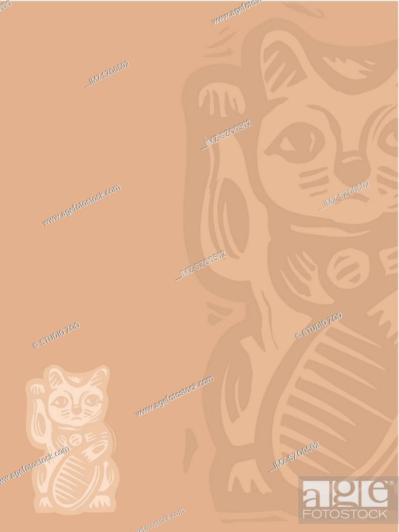 Stock Photo: Lucky cat on beige.