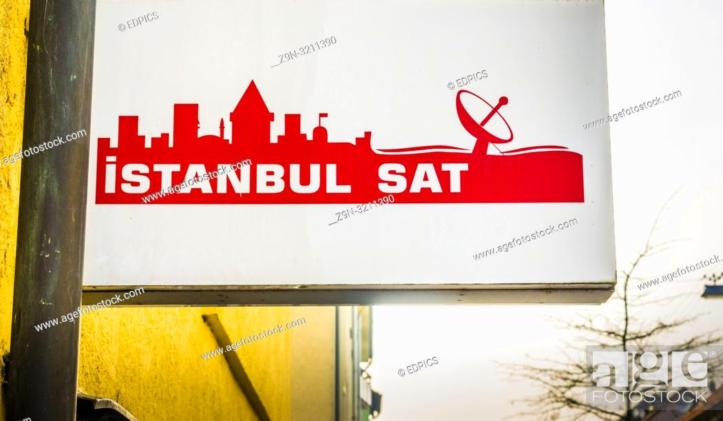 Stock Photo: sign of a turkish satellite receiver provider in heilbronn, baden-wuerttemberg, germany.