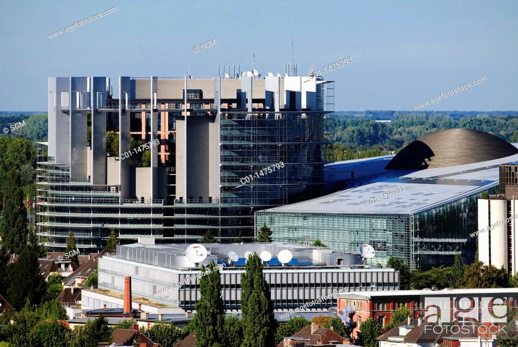 Stock Photo: European Parliament, Strasbourg, Alsace, France.