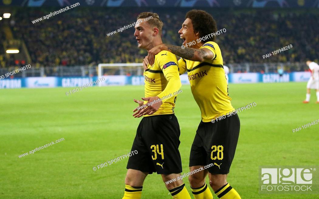 Stock Photo: firo: 03.10.2018 Football, Football, Champions League: BVB Borussia Dortmund - AS Monaco 3: 0 jubilation, goal to 1: 0 Jacob Bruun Larsen with Axel Witsel |.