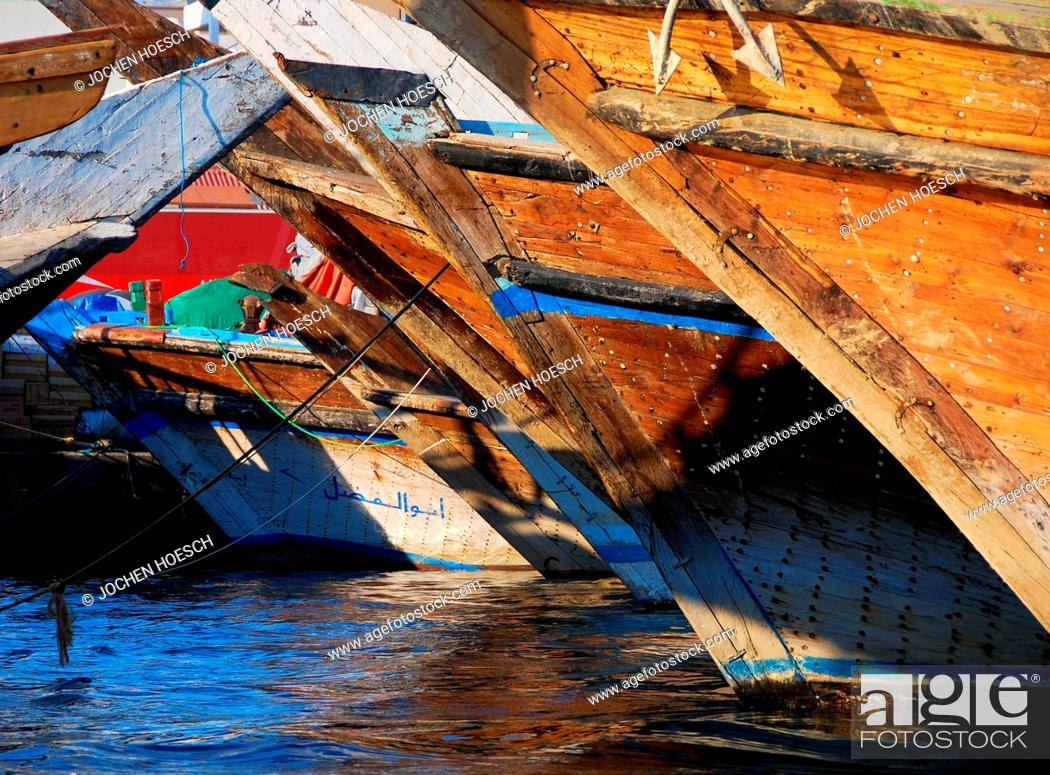 Stock Photo: Dhows traditional wooden boats in Dubai, UAE.