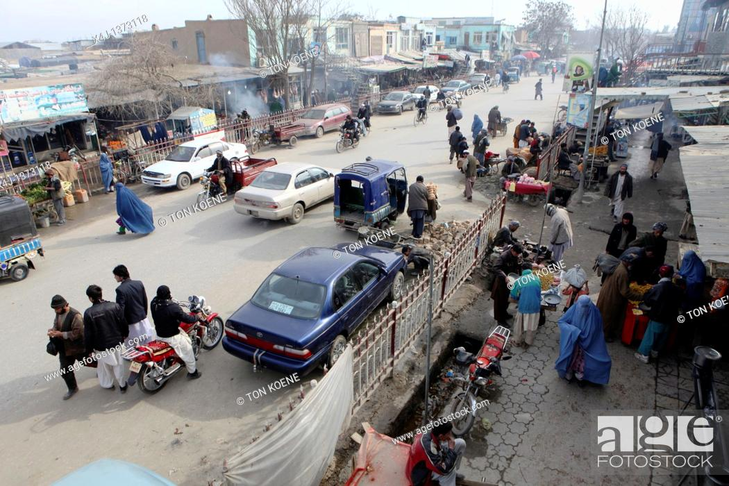 Stock Photo: Main street in Kunduz city.