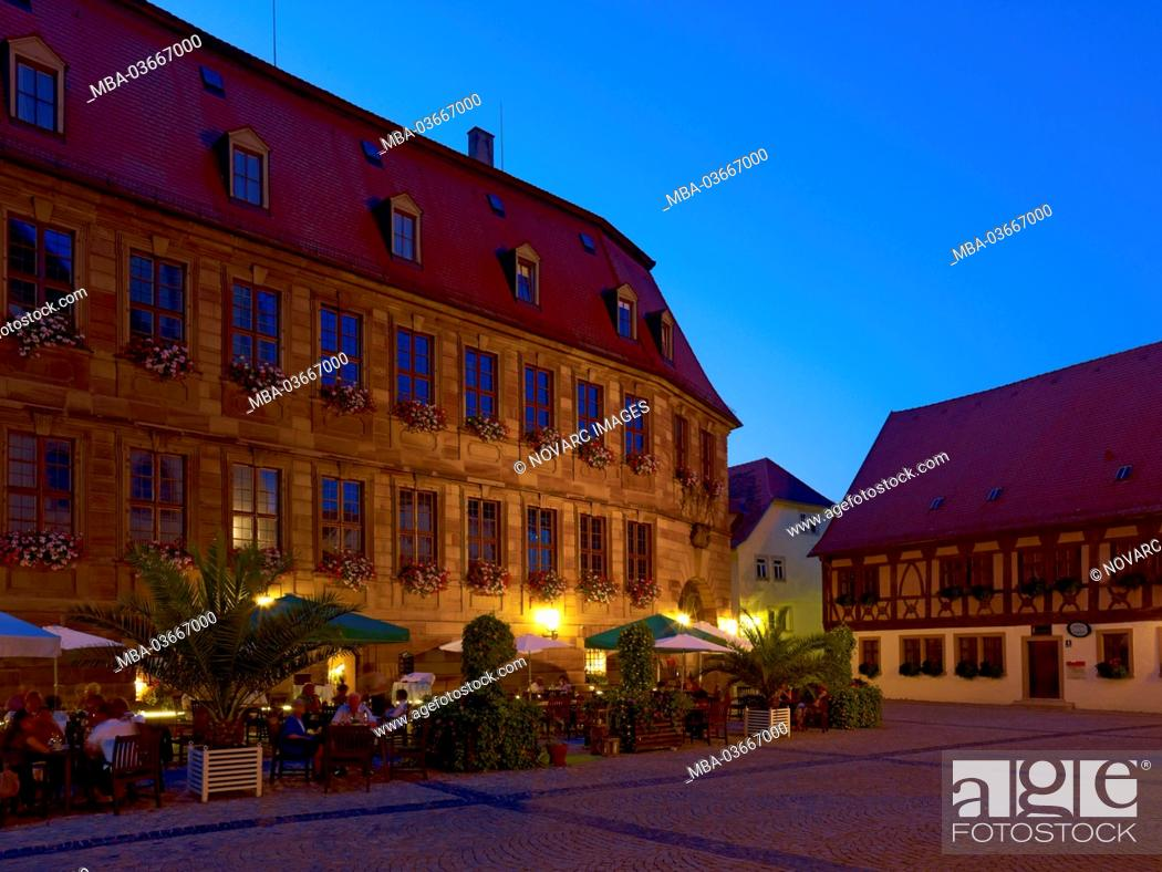 Stock Photo: Rathausplatz with New Town Hall in Bad Kissingen, Lower Franconia, Bavaria, Germany,.