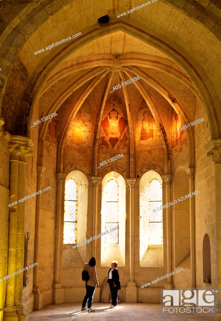 Stock Photo: Trinidad Chapel and painting in fresco XIII Century  St  Emilion Dordogne Valley. Bordeaux, Aquitaine, France.