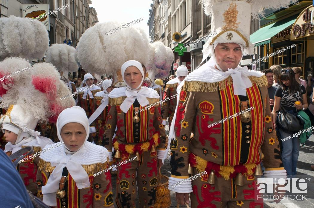 Stock Photo: Demostration of carnaval of Binche dresses, Brussels, Belgium. UNESCO World Heritage Parade Festival. Belgium.