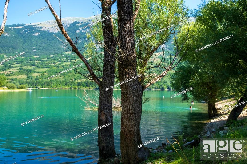 Stock Photo: panorama and aquatic landscape of Lake Barrea, in the Abruzzo National Park, Italy, Europe.