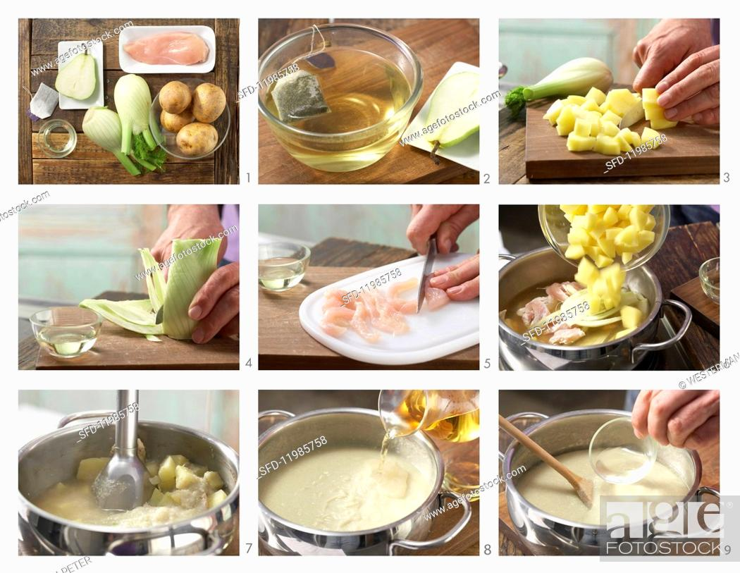 Photo de stock: How to prepare fennel and chicken purée.