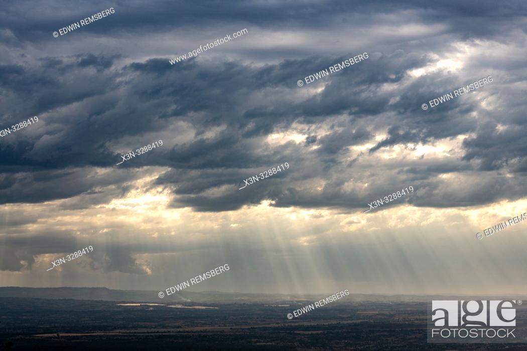 Stock Photo: The sun bursts through the clouds in Lake Nakuru National Park, Kenya.