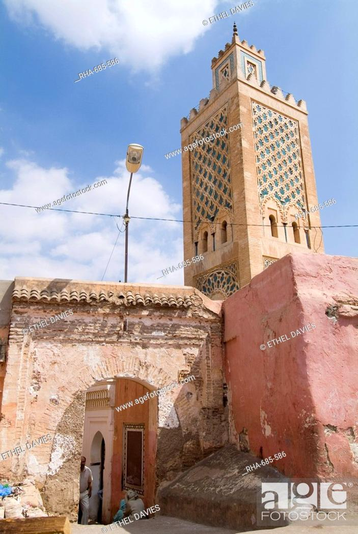 Stock Photo: Bab Debbagh, one of Marrakech's city gates, and mosque, Marrakech, Morocco, North Africa, Africa.