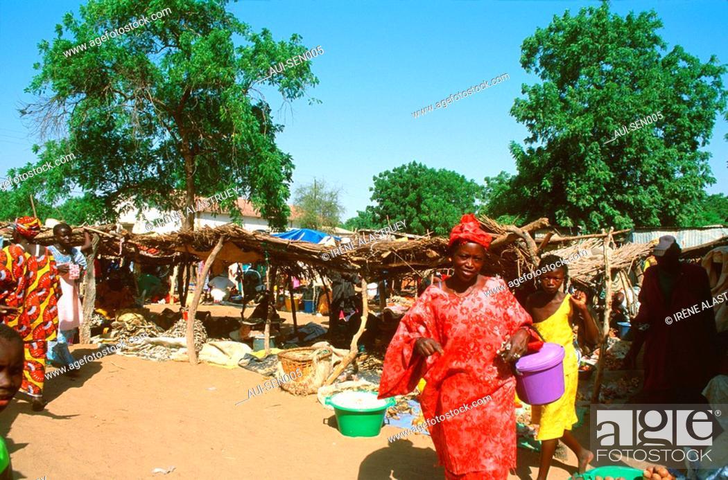 Stock Photo: Senegal - Delta du Sine-Saloum - Region Fatick - Diakhao-Marche brousse.