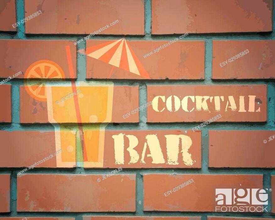Stock Vector: Retro poster design for cocktail lounge bar. Cocktail party concept. Vintage design for bar or restaurant. Food and drink concept. Vector illustration.