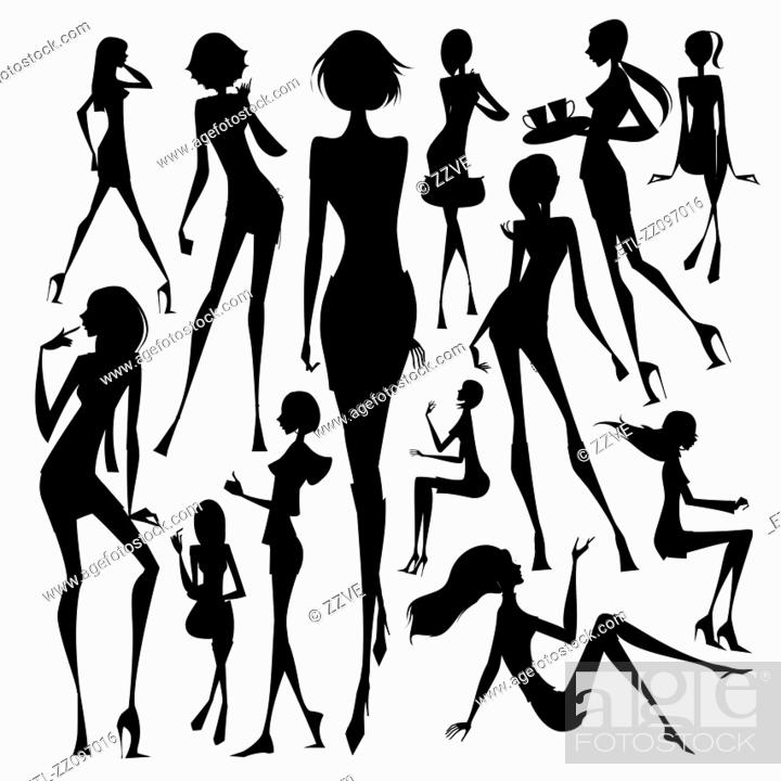 Stock Photo: Set of silhouette of the woman at travelling.