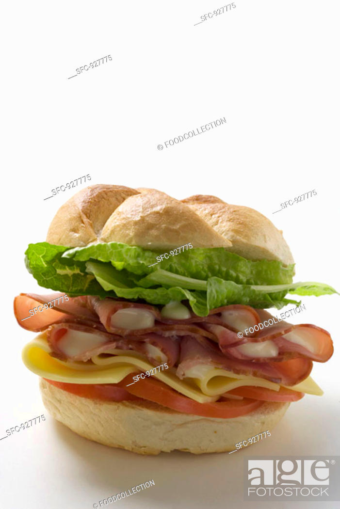 Stock Photo: Ham, cheese, tomato and lettuce sandwich.