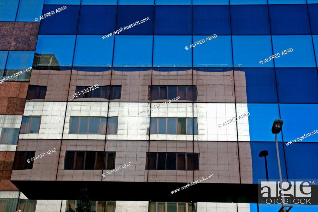 Stock Photo: reflection, building Fundacion Caixa Tarragona, Tarragona, Catalonia, Spain.