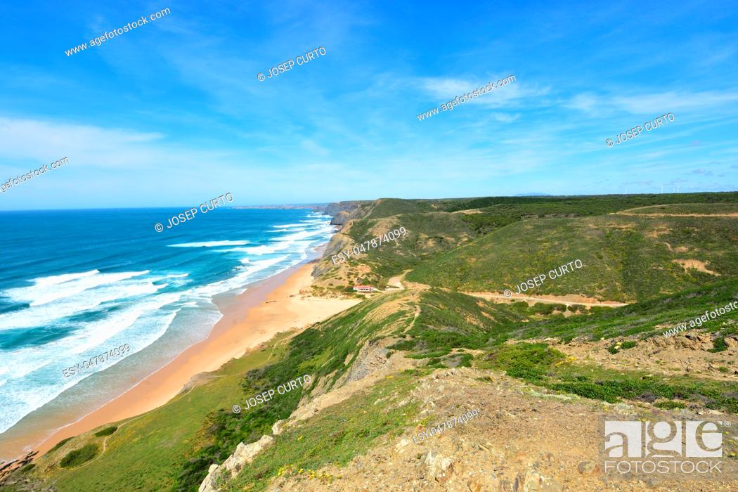 Stock Photo: seascape from the viewpoint of Castelejo, (view of Cordoama beach), Vila do Bispo, Algarve, Portugal.