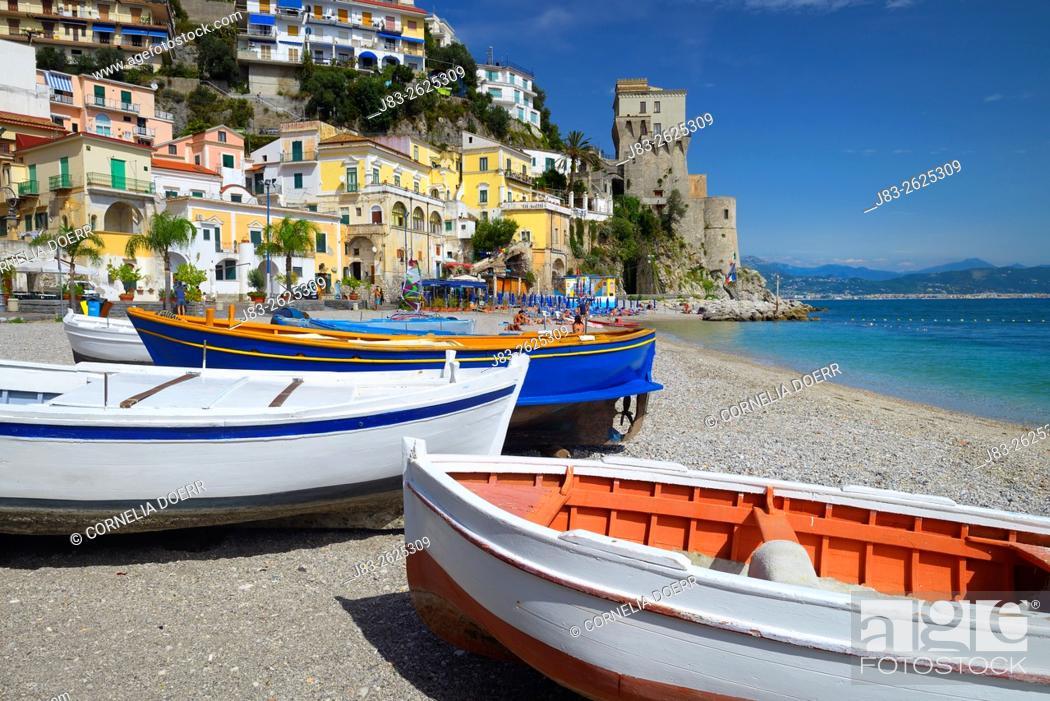 Stock Photo: The fishing village of Cetara on the Amalfi Coast, Campania, Italy.