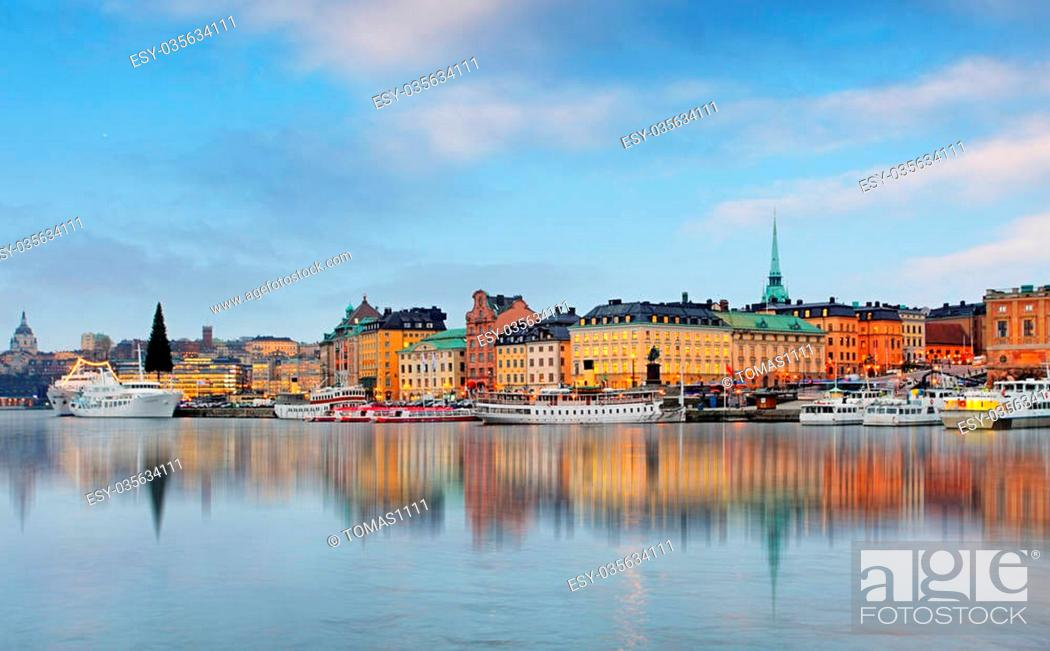Stock Photo: View on Old Town at dawn. Stockholm. Sweden.
