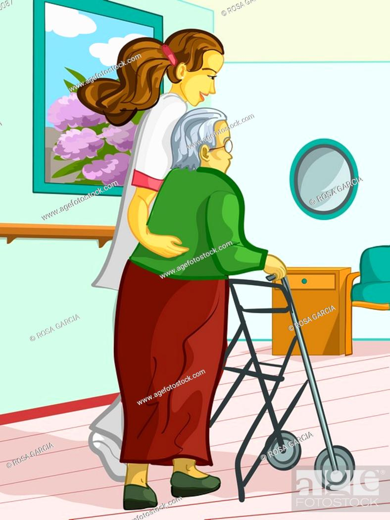 Stock Photo: A health care worker assisting an elderly lady with a walking frame.