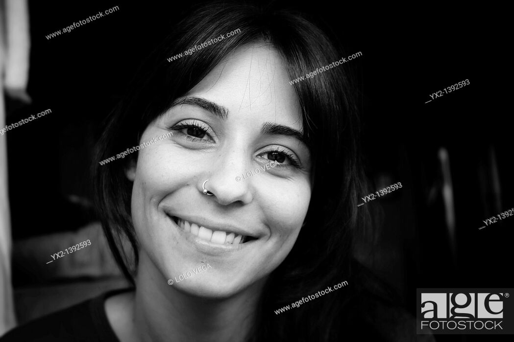 Stock Photo: Woman portrait in black and white.