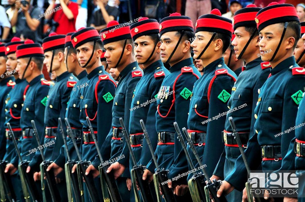 Stock Photo: At the ceremony of Indra Jatra festival in Durbar Square, Kathmandu Nepal.