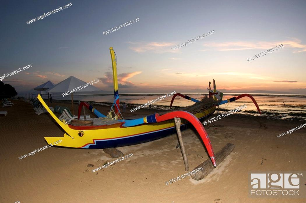 Indonesia Bali Sanur Beach Outrigger Boat On Stock Photo