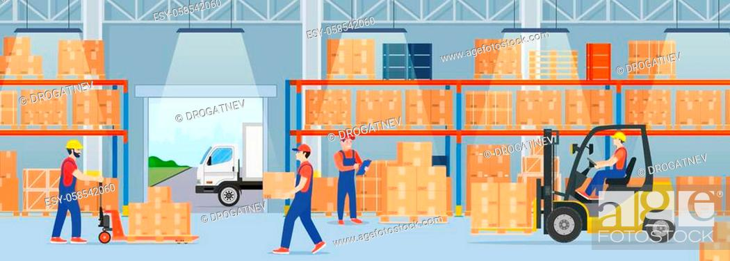 Stock Vector: Warehouse interior with cardboard boxes and cargo truck. Staff surrounded by boxes on rack and transport of storehouse interior.