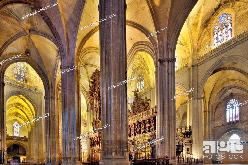 Stock Photo: Interior of Santa Maria de la Sede Cathedral, Seville, Spain.