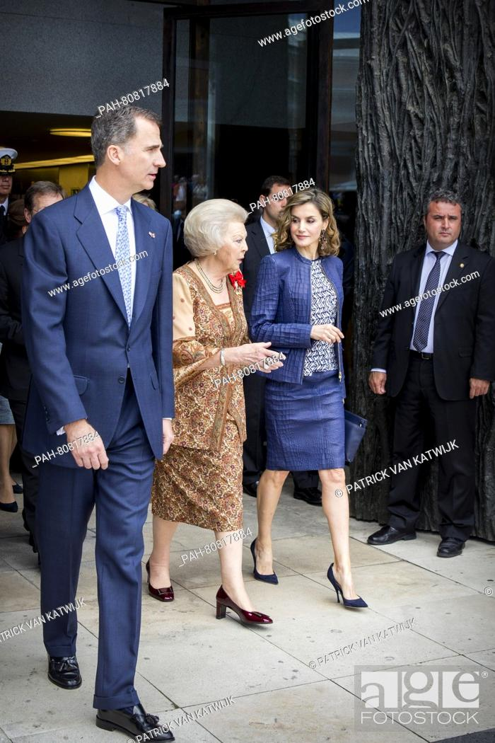 Stock Photo: King Felipe and Queen Letizia of Spain and Princess Beatrix of The Netherlands at the opening of the exhibition 'Bosch, the 5th Centenary Exhibition- in the.