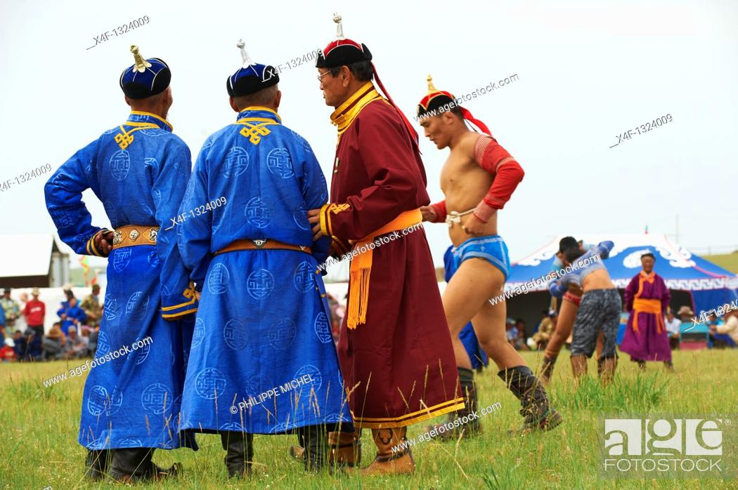 Stock Photo: Mongolia, Bulgan province, Naadam festival, wrestling tornament.